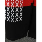 best Color Splicing Cross Pattern Knitted Cardigan