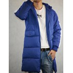 cheap Double Pocket Hooded Letter Print Down Coat