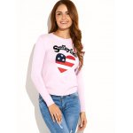 US Flag Heart Pattern Pullover Sweater