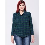 cheap Buttoned Plaid Slim Shirt