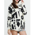 cheap Dropped Shoulder Graphic Mohair Sweater