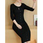 best Knitted Button Up Midi Dress