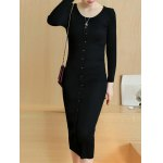 Knitted Button Up Midi Dress for sale