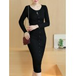 Knitted Button Up Midi Dress deal