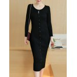 Knitted Button Up Midi Dress