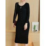 cheap Knitted Button Up Midi Dress