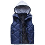 Zip-Up Argyle Pattern Hooded Down Waistcoat