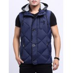 cheap Zip-Up Argyle Pattern Hooded Down Waistcoat