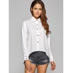 cheap High Low Back Zip Chiffon Shirt