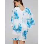 Plus Size Batwing Sleeve Leaves Print Bodycon Dress deal