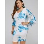 cheap Plus Size Batwing Sleeve Leaves Print Bodycon Dress