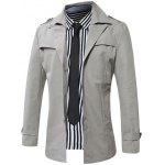 cheap Turn-Down Collar Single-Breasted Epaulet Trench Coat