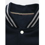 Fuzzy Patch Snap Button Up Stripe Ribbed Jacket deal