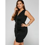 cheap Zip Front Cut Out Plus Size Ruched Club Dress