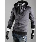 cheap Hooded Color Block Drawstring Zipper Hoodie