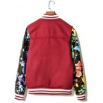 cheap Paint Splash Printed PU Leather Insert Zip Up Jacket