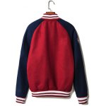 cheap Embroidered Patch Contrast Color Raglan Sleeve Jacket