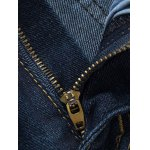 Mid Waist Zipper Fly Dark Washed Jeans for sale