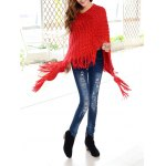 cheap Tassels Zigzag Asymetrical Cape Sweater