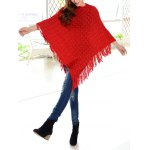 Tassels Zigzag Asymetrical Cape Sweater