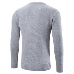 cheap Ribbed Trim Patched Crew Neck Knit Sweater