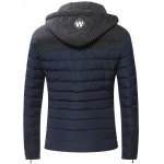 cheap Hooded Zip-Up Splicing Quilted Jacket