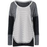 best Striped Ribbed Knitted High Low Pullover