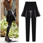 cheap Bodycon Plus Size PU Skirted Pants