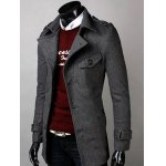cheap Belted Lapel Single Breasted Woolen Tweed Coat