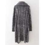 cheap Drape Front Long Cardigan With Non-Detachable Scarf