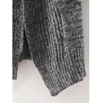 Drape Front Long Cardigan With Non-Detachable Knitted Scarf photo
