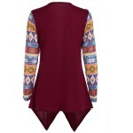 cheap Tribal Print Asymmetric Hem Cardigan