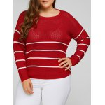Plus Size Stripes Pattern Openwork Sweater