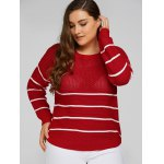 cheap Plus Size Stripes Pattern Openwork Sweater