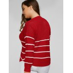 Plus Size Stripes Pattern Openwork Sweater for sale