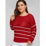 Plus Size Stripes Pattern Openwork Sweater deal