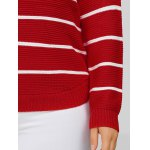 best Plus Size Stripes Pattern Openwork Sweater