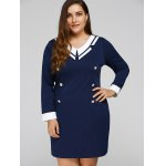 Plus Size Double-Breasted Patchwork Dress deal