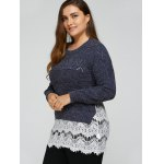 Plus Size Lace Splicing Openwork Sweater deal