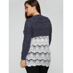 Plus Size Lace Splicing Openwork Sweater for sale