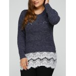 Plus Size Lace Splicing Openwork Sweater