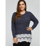 cheap Plus Size Lace Splicing Openwork Sweater