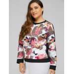 Plus Size Abstract Print Patchwork Sweatshirt deal