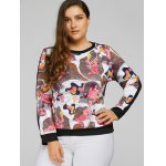 cheap Plus Size Abstract Print Patchwork Sweatshirt