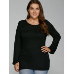 cheap Back Lacework Splicing Plus Size T-Shirt