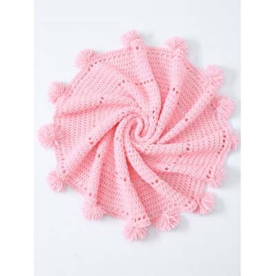 Pompon Edge Hollow Out Crochet Knit Round Blanket