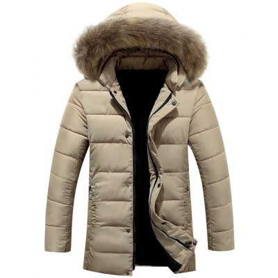 Faux Fur Collar Hooded Lengthen Zip-Up Quilted Coat