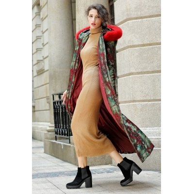 Fur Hooded Longline Printed Padded Coat