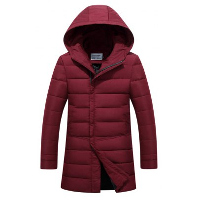 Hooded Covered Zip-Up Lengthen Padded Coat