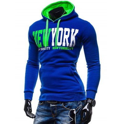 New York Printed Kangaroo Pocket Pullover Hoodie